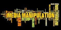 Media manipulation issues and concepts word cloud illustration. Word collage concept.