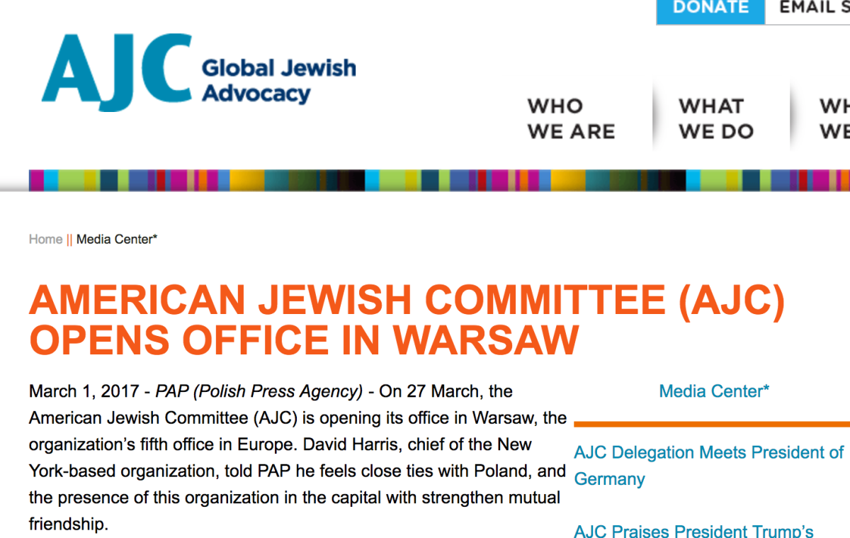 American Jewish Committee (AJC) is opening its office in Warsaw